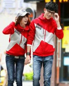 jaket-couple-qing-luoc-warna-merah-kombinasi